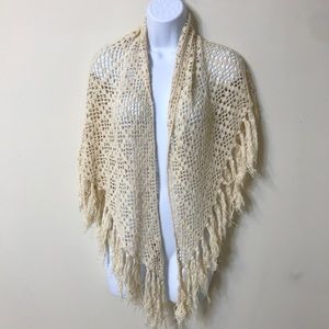 Hand Crocheted Nude Scarf Cotton Blend Oversized